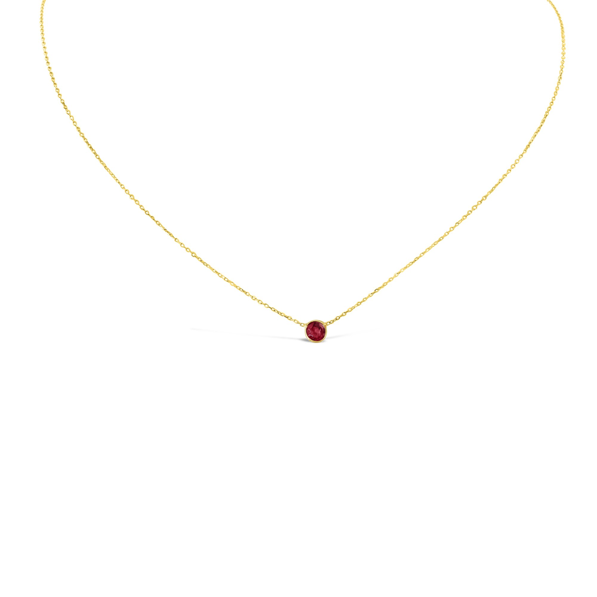 14k Gold Round Bezel Ruby Solitaire Necklace
