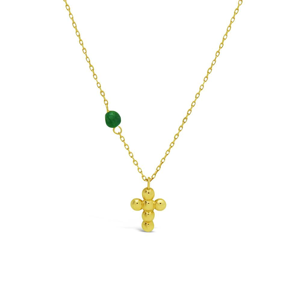 14k Yellow Gold Cross & Emerald Necklace