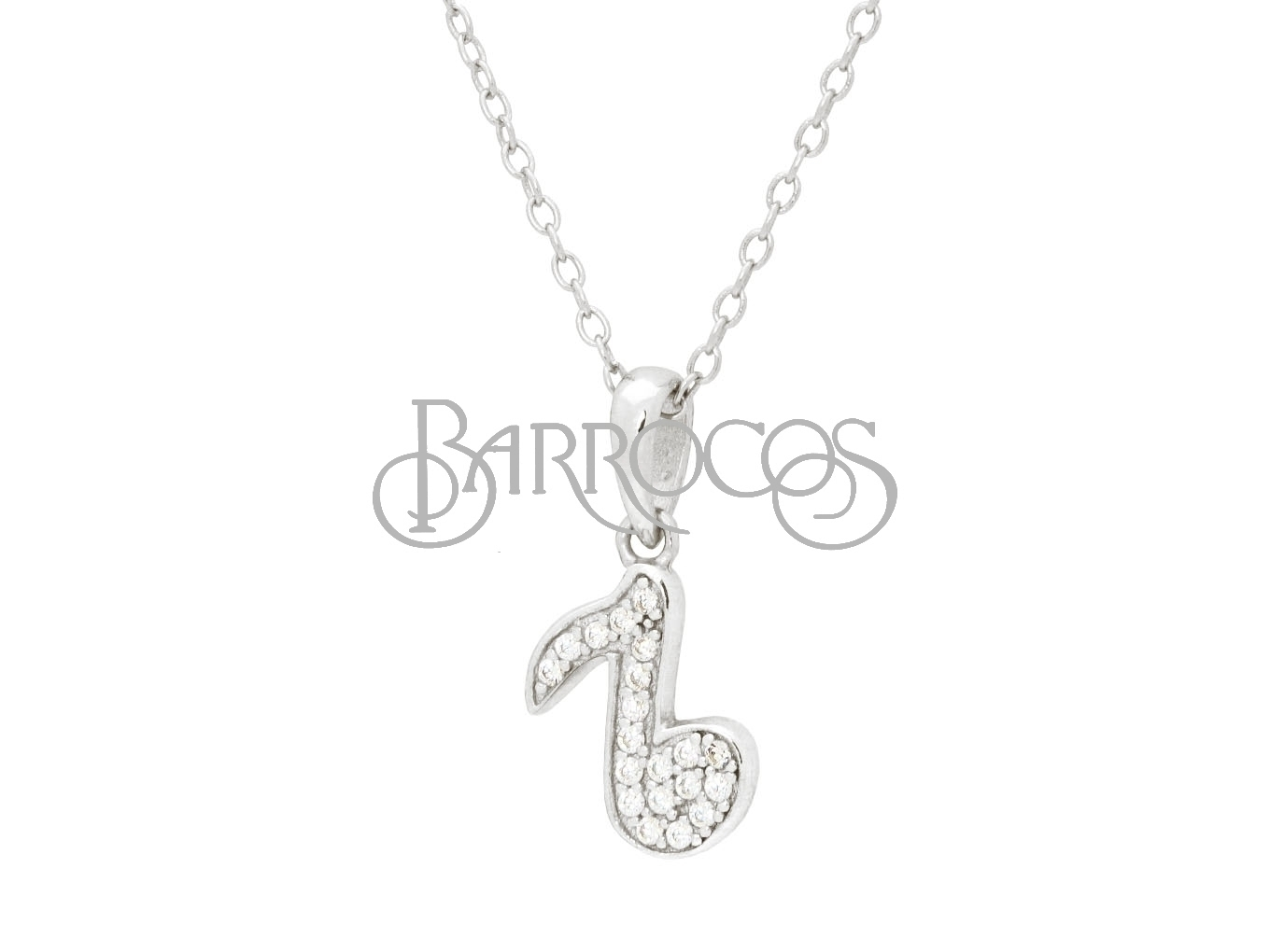 Teens Sparkling Cz  Corchea Pendant Necklace in Rhodium Plated Silver
