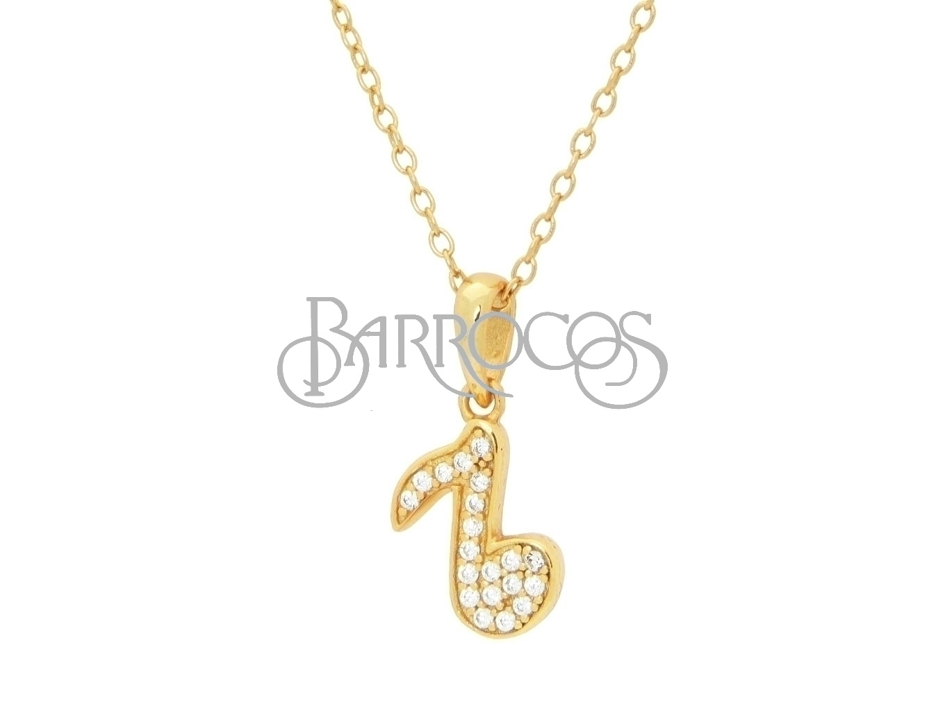 Teens Sparkling Cz Corchea Pendant Necklace in Gold Plated Silver