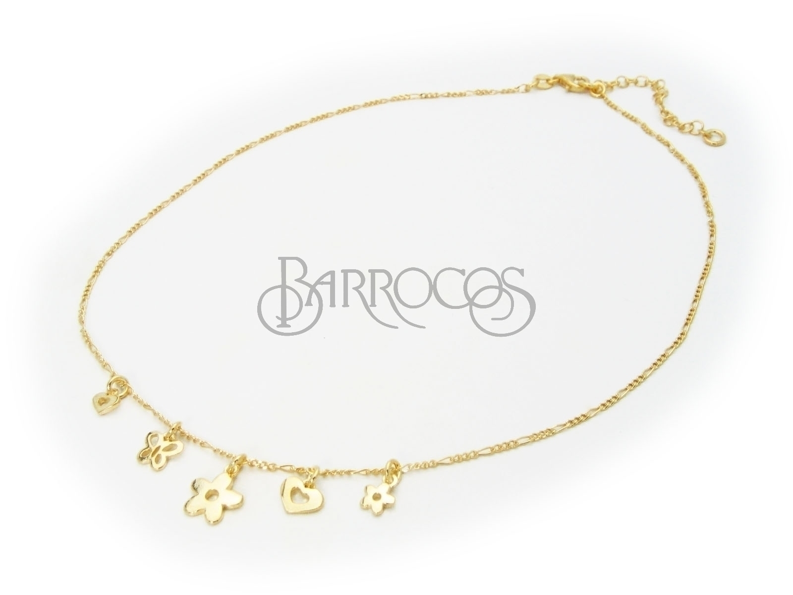 "Beckids Flowers Butterflies & Hearts Charms Necklace in Gold Plated Sterling Silver Sterling Silver 15""+2"""