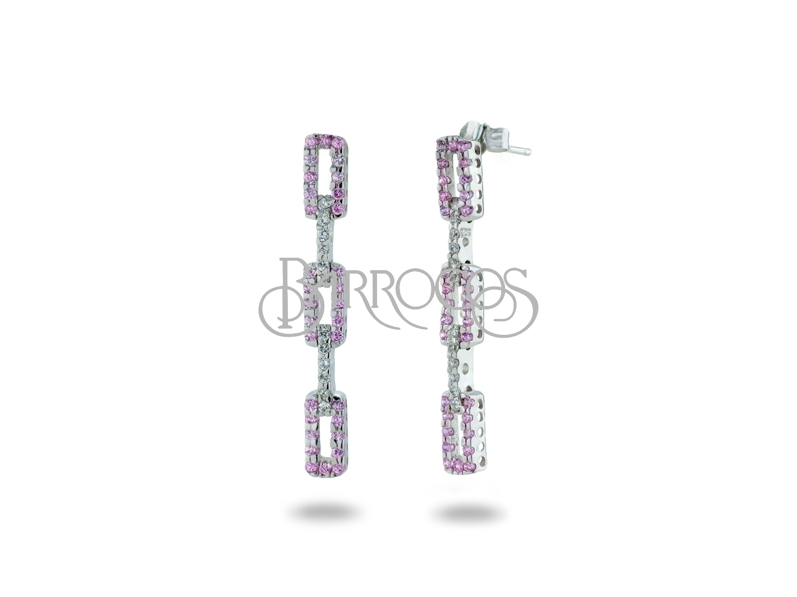 Sterling Silver Pink & White Cubic Zirconia Rectangle Drop Earrings