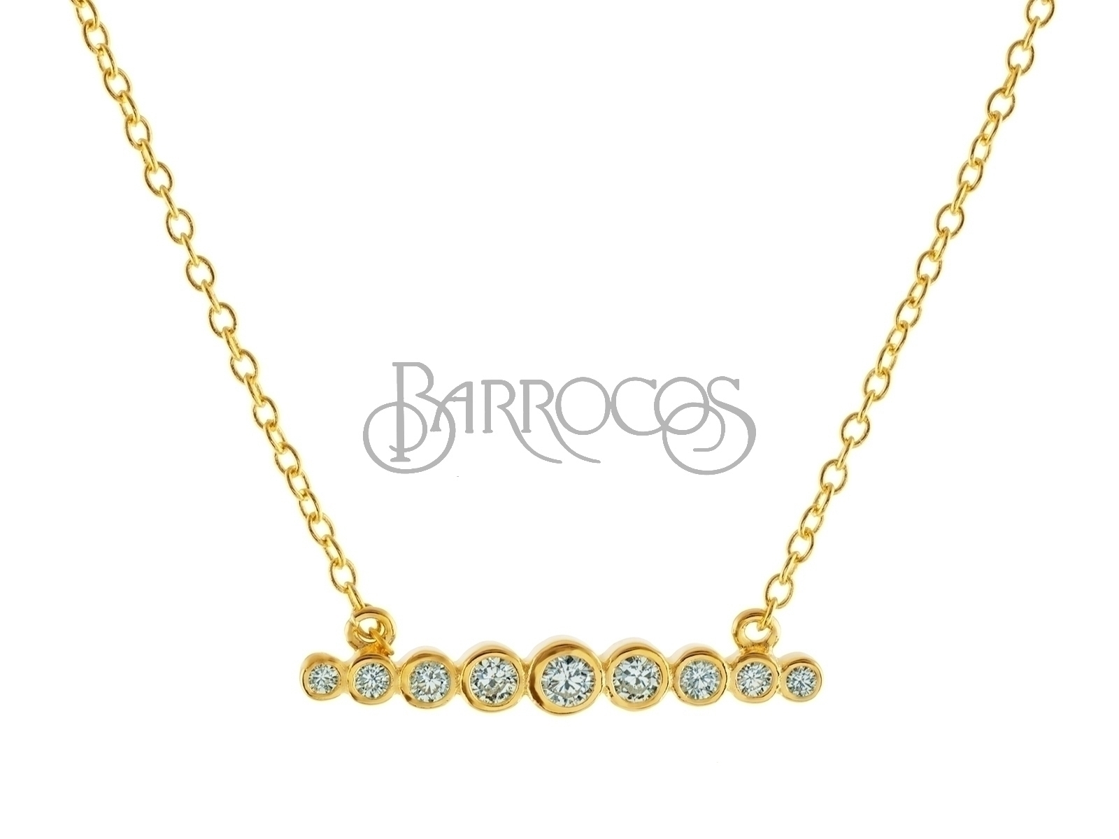 "18k Gold Plated CZ Degrade Bar Necklace 15.5""+2"""
